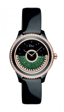 DIOR VIII GRAND BAL FIL DE SOIE - GREEN SILK AND BLACK CERAMIC 38MM HD