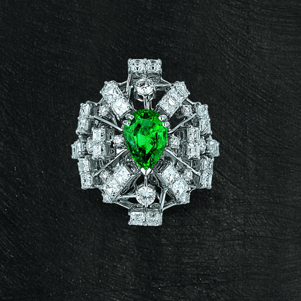 Art Deco Emerald Ring set on Grey Gold with Square Diamonds Emerald Cut and Round Brilliants.