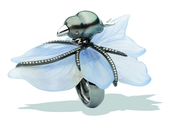 Bird on a Leaf Ring - 18K gold, diamonds, and Tahitian pearl on a chalcedony leaf.