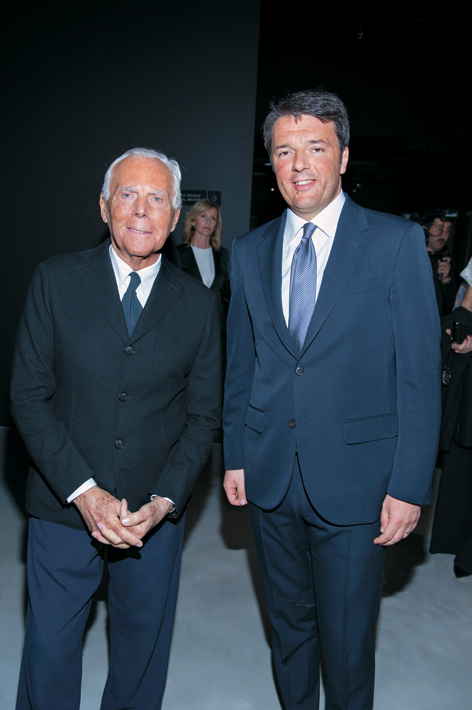 Italian Prime Minister Matteo Renzi and Giorgio Armani