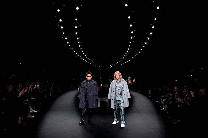 PARIS, FRANCE - MARCH 10: Derek Zoolander and Hansel walk the runway at the Valentino Fashion Show during Paris Fashion Week at Espace Ephemere Tuileries on March 10, 2015 in Paris, France. ZOOLANDER 2 will open in theaters in the U.S. on February 12, 2016. (Photo by Pascal Le Segretain/Getty Images For Paramount Pictures) *** Local Caption *** Derek Zoolander; Hansel