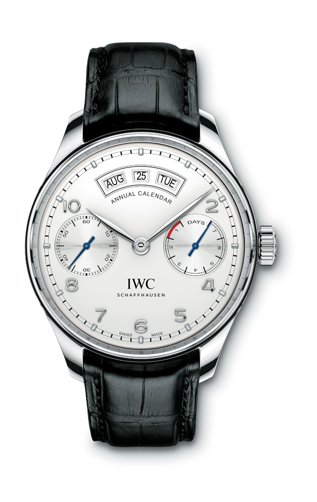 HANDOUT - The Portugieser Annual Calendar (Ref. IW503501) from IWC Schaffhausen: case in stainless steel, silver-plated dial and black alligator leather strap with a folding clasp in stainless steel. (PHOTOPRESS/IWC)