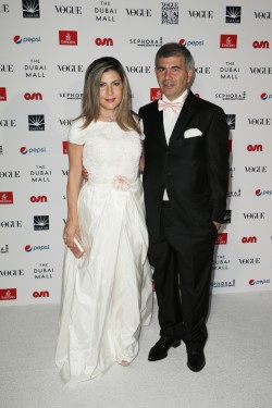 DUBAI, UNITED ARAB EMIRATES - OCTOBER 30: Ingie Chalhoub and Patrick Chalhoub attend the Gala event during the Vogue Fashion Dubai Experience 2015 at Armani Hotel Dubai on October 30, 2015 in Dubai, United Arab Emirates. (Photo by John Phillips/Getty Images for Vogue and The Dubai Mall) *** Local Caption *** Patrick Chalhoub;Ingie Chalhoub