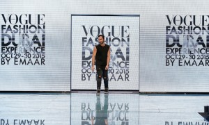 DUBAI, UNITED ARAB EMIRATES - OCTOBER 29: Designer Krikor Jabotain acknowledges the audience after his show as part of the Talents Fashion show during the Vogue Fashion Dubai Experience 2015 at The Dubai Mall on October 29, 2015 in Dubai, United Arab Emirates. (Photo by John Phillips/Getty Images for Vogue and The Dubai Mall)