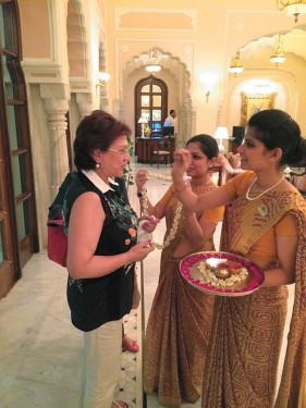 Traditional Welcome at the Rambagh Palace Hotel in Jaipur