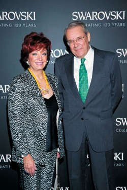 Helmut Swarovski et sa femme Dana Swarovski - 120 ans de la maison Swarovski dans les salons France-Amérique à Paris le 30 septembre 2015. # Helmut Swarovski and his wife Dana Swarovski - Swarovski 120 years party held at Salon France-Amerique in Paris on September 30th, 2015