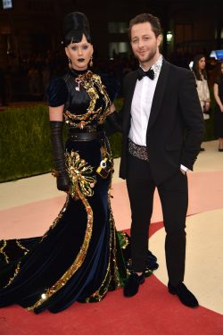 "NEW YORK, NY - MAY 02: Katy Perry (L) and Derek Blasberg attend the ""Manus x Machina: Fashion In An Age Of Technology"" Costume Institute Gala at Metropolitan Museum of Art on May 2, 2016 in New York City. (Photo by Dimitrios Kambouris/Getty Images)"