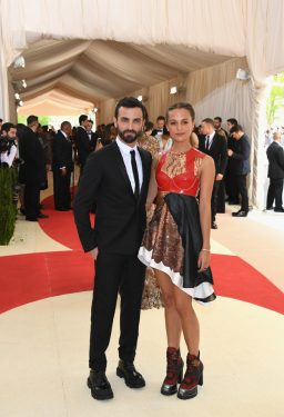 "NEW YORK, NY - MAY 02: Nicolas Ghesquiere and Alicia Vikander attend the ""Manus x Machina: Fashion In An Age Of Technology"" Costume Institute Gala at Metropolitan Museum of Art on May 2, 2016 in New York City. (Photo by Larry Busacca/Getty Images)"